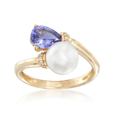 1.10 Carat Tanzanite and 7.5-8.5mm Cultured Pearl Bypass Ring with Diamond Accent in 14kt Yellow Gold, , default