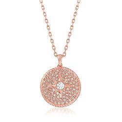 Swarovski Crystal Locket Pendant Necklace in Rose Gold-Plated Metal, , default