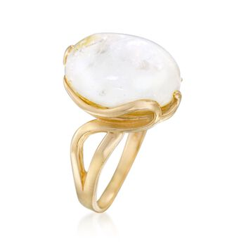 Moonstone Twisted Ring in 18kt Gold Over Sterling, , default