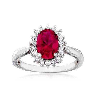 Synthetic Ruby and .20 ct. t.w. CZ Halo Ring in Sterling Silver