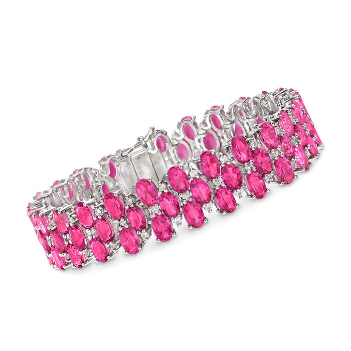 "40.00 ct. t.w. Pink Topaz and 2.00 ct. t.w. White Zircon Bracelet in Sterling Silver. 8"", , default"