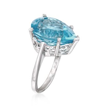13.00 Carat Blue Topaz Ring in Sterling Silver, , default