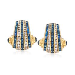 C. 1990 Vintage Charles Krypell 9.60 ct. t.w. Sapphire and 2.00 ct. t.w. Diamond Clip-On Earrings in 18kt Yellow Gold, , default