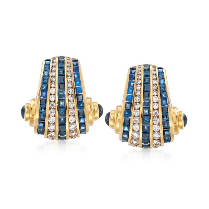C. 1990 Vintage Charles Krypell 9.60 ct. t.w. Sapphire and 2.00 ct. t.w. Diamond Clip-On Earrings in 18kt Yellow Gold , , default
