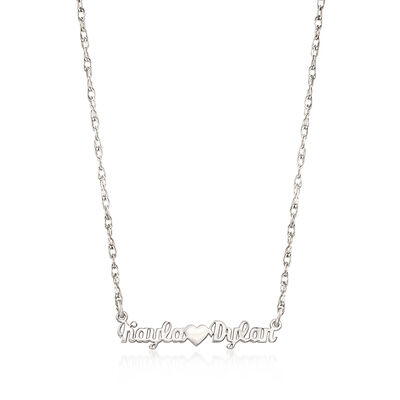 Sterling Silver Script Two-Name and Heart Necklace, , default