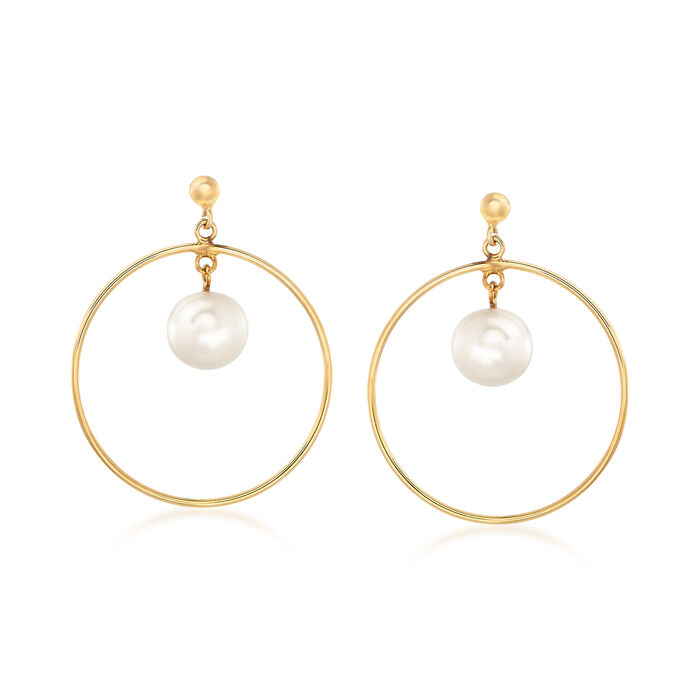 "Italian 8-8.5mm Cultured Pearl Drop and Hoop Earrings in 14kt Yellow Gold. 1 1/4"", , default"