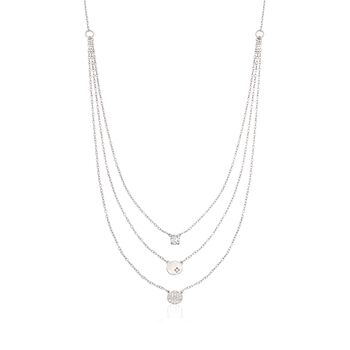 """.35 ct. t.w. CZ Layered Necklace in Sterling Silver. 16.5"""", , default"""