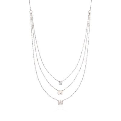 .35 ct. t.w. CZ Layered Necklace in Sterling Silver, , default