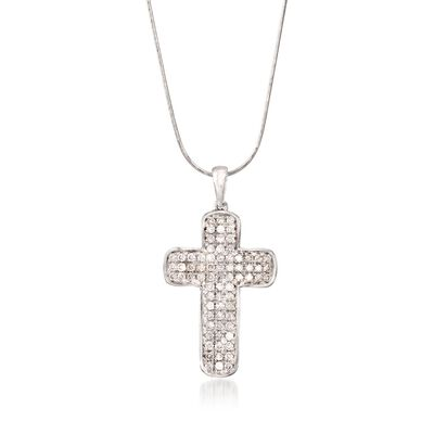 1.00 ct. t.w. Pave Diamond Cross Pendant in 14kt White Gold, , default