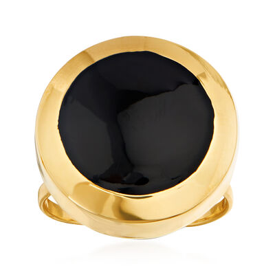 14kt Yellow Gold and Black Enamel Round-Top Ring, , default