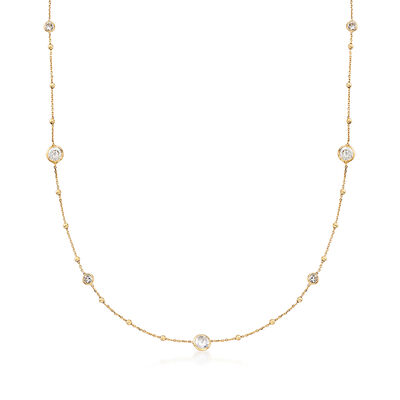 Italian 2.00 ct. t.w. CZ and 14kt Yellow Gold Bead Station Necklace, , default