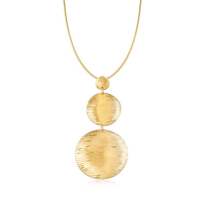 Italian 24kt Gold Over Sterling Silver Disc Drop Necklace, , default
