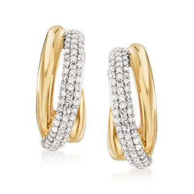 .50 ct. t.w. Diamond Sash J-Hoop Earrings in 14kt Yellow Gold