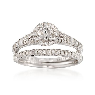 1.20 ct. t.w. Diamond Bridal Set: Engagement and Wedding Rings in 14kt White Gold, , default
