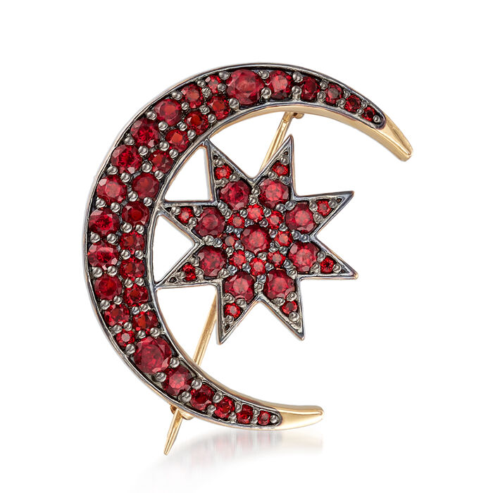 2.65 ct. t.w. Garnet Crescent Moon and Star Pin in 18kt Gold Over Sterling
