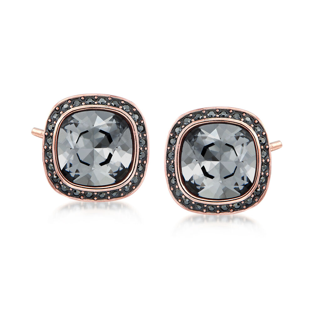 """21a2814d1 Swarovski Crystal """"Latitude"""" Stud Earrings in Rose Gold-Plated ..."""