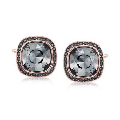 "Swarovski Crystal ""Latitude"" Stud Earrings in Rose Gold-Plated Metal, , default"