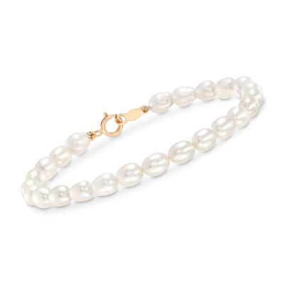 Child's 4-4.5mm Cultured Pearl Bracelet with 14kt Yellow Gold, , default