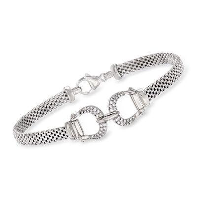 Italian .20 ct. t.w. CZ Belt Buckle Bracelet in Sterling Silver