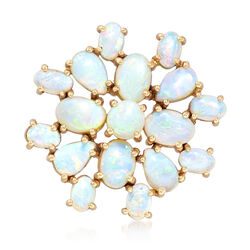 C. 1980 Vintage Opal Cluster Pin in 14kt Yellow Gold, , default