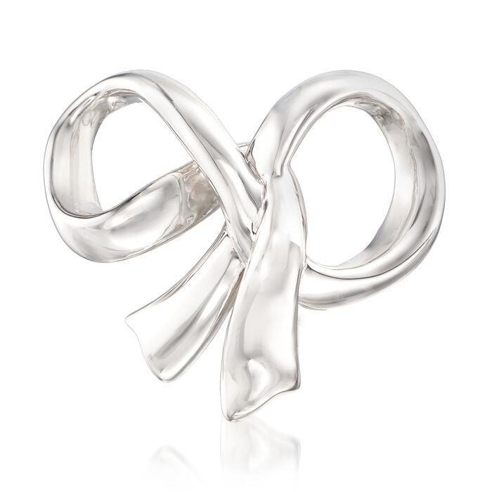 Sterling Silver Bow Slide Pendant, , default