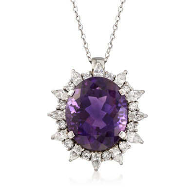 C. 1980 Vintage 18.10 Carat Amethyst and 1.95 ct. t.w. Diamond Necklace in 18kt White Gold, , default