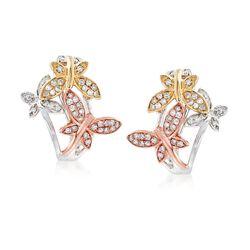 .32 ct. t.w. Diamond Butterfly Earrings in 14kt Tri-Colored Gold. Clip/Post Earrings, , default