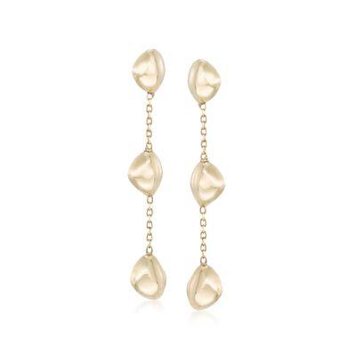 Italian 18kt Yellow Gold Nugget Drop Earrings, , default