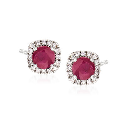1.20 ct. t.w. Ruby and .25 ct. t.w. Diamond Earrings in 14kt White Gold, , default