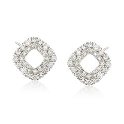.39 ct. t.w. Diamond Open Double Frame Earrings in 14kt White Gold, , default