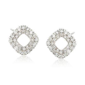 .39 ct. t.w. Diamond Open Double Frame Earrings in 14kt White Gold, , default