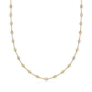 3.00 ct. t.w. Bezel-Set Diamond Station Necklace in 14kt Yellow Gold, , default