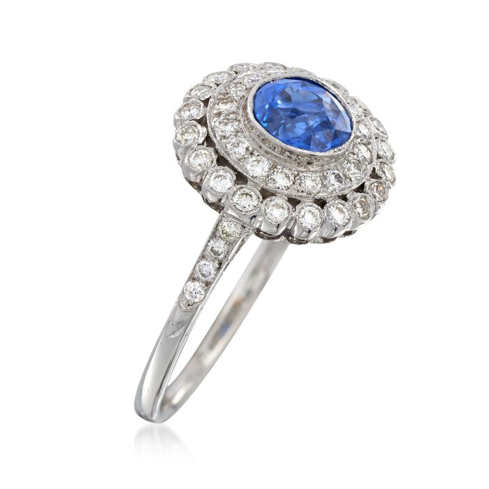 C. 1990 Vintage 1.05 Carat Sapphire and .50 ct. t.w. Diamond Ring in 18kt White Gold