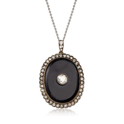C. 1910 Vintage Black Onyx and 1.45 ct. t.w. Diamond Pendant Necklace with Sterling Silver, , default