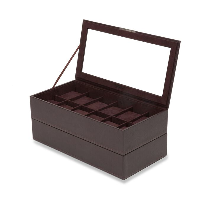 "Wolf Designs ""Stackable"" Set of Two Brown Faux Leather Twelve-Part Watch Trays"