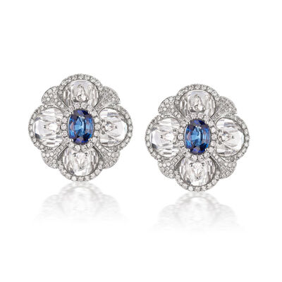 Rock Crystal, 2.00 ct. t.w. Sapphire and 1.60 ct. t.w. Diamond Flower Clip-On Earrings in 18kt White Gold