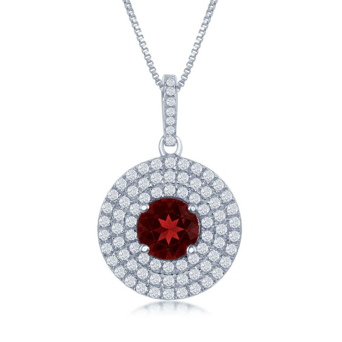 "1.60 Carat Garnet and .75 ct. t.w. White Topaz Pendant Necklace in Sterling Silver. 17.25"", , default"