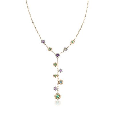 Italian 14kt Multicolored Gold Flower Y-Necklace, , default