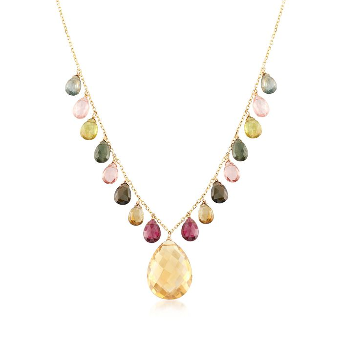 12.00 Carat Champagne Quartz and 15.40 ct. t.w. Multicolored Tourmaline Necklace in 14kt Yellow Gold, , default