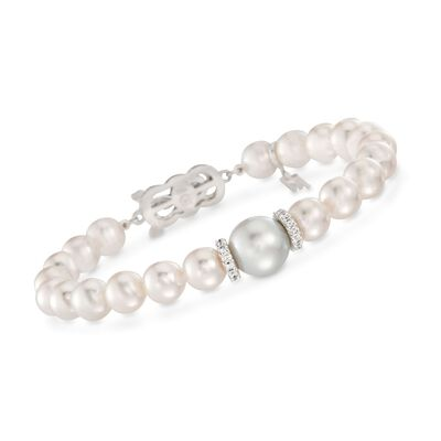 "Mikimoto ""Everyday"" 7-7.5mm A+ Akoya and 10mm South Sea Pearl Bracelet with .40 ct. t.w. Diamonds in 18kt White Gold, , default"