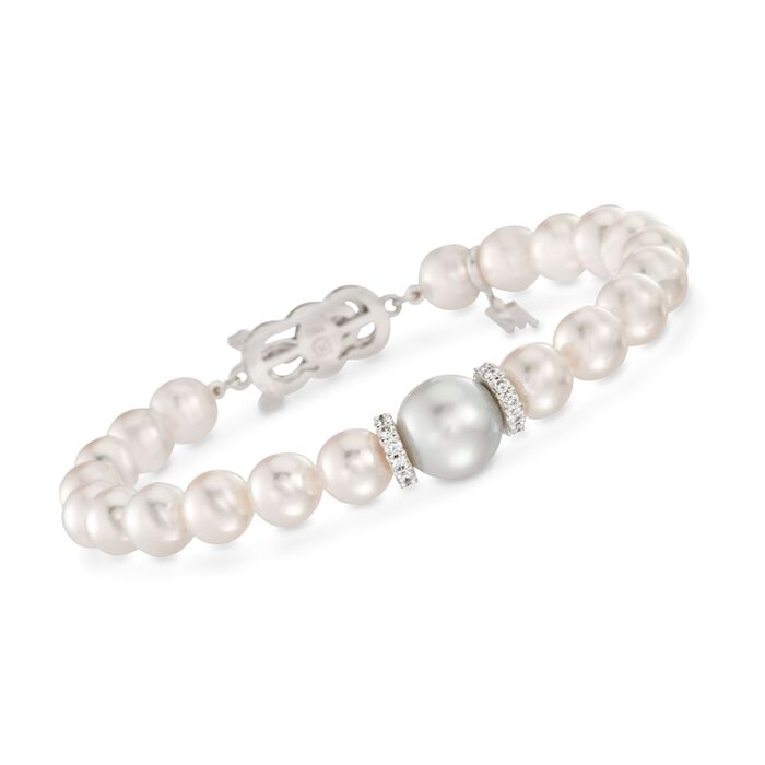 "Mikimoto ""Everyday"" 7-7.5mm A+ Akoya and 10mm South Sea Pearl Bracelet with .40 ct. t.w. Diamonds in 18kt White Gold"