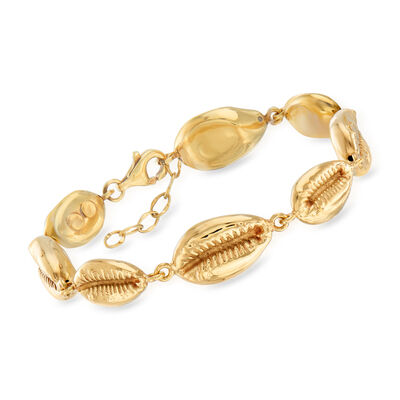 Italian 14kt Yellow Gold Puka Shell Bracelet, , default