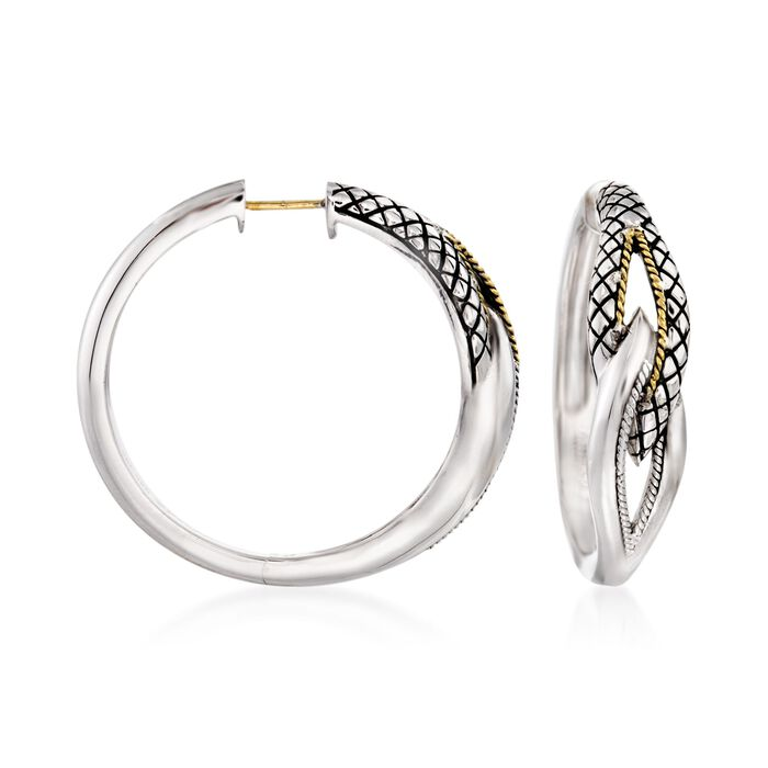 "Andrea Candela ""Conexion"" Sterling Silver Hoop Earrings with 18kt Yellow Gold. 1 1/8"""