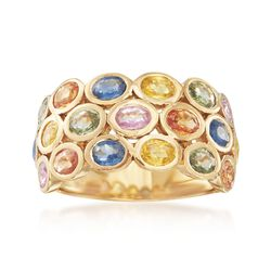 3.80 ct. t.w. Multicolored Sapphire Ring in 14kt Gold Over Sterling Silver, , default