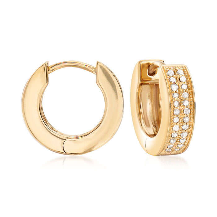 ".25 ct. t.w. Diamond Double-Row Hoop Earrings in 18kt Gold Over Sterling. 1/2"""