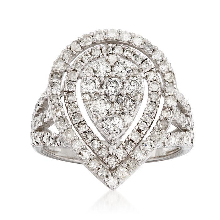 1.71 ct. t.w. Diamond Teardrop Ring in 14kt White Gold