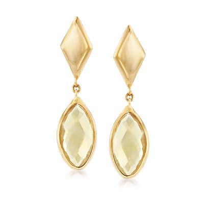 Italian 2.00 ct. t.w. Citrine Drop Earrings in 14kt Yellow Gold