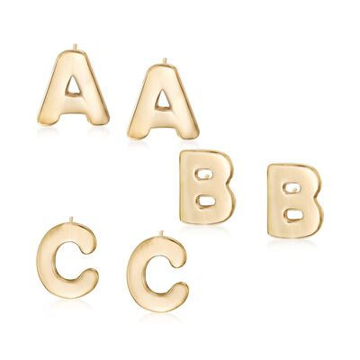 14kt Yellow Gold Over Sterling Silver Block Initial Stud Earrings, , default