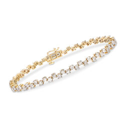 3.00 ct. t.w. Alternating Diamond Tennis Bracelet in 14kt Yellow Gold, , default