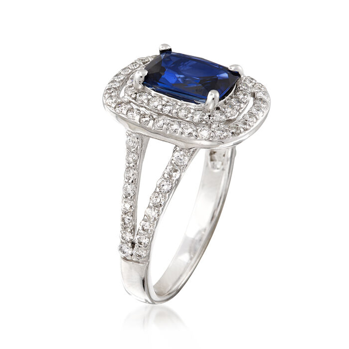 1.80 Carat Sapphire and .85 ct. t.w. Diamond Double Halo Ring in 14kt White Gold